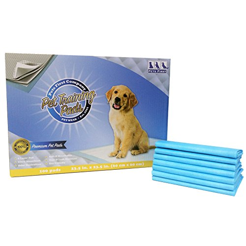 Pets First PREMIUM TRAINING PADS 100 Count - 2016 Version - Most Absorbent Puppy Pads