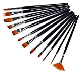 Art Asia Artist Quality Synthetic Assorted Paint Brush Set of 12 pc for Watercolor & Acrylic...