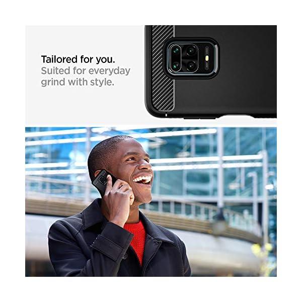Compatible con Carga Inal/ámbrica Absorci/ón de Choque Resistente y dise/ño de Fibra de Carbono Spigen Rugged Armor Funda para Xiaomi Redmi Note 9S // 9 Pro MAX // 9 Pro - Negro Mate