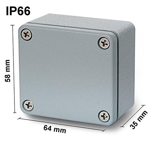 edi-tronic Aluminium Leergehäuse 64x58x35mm Industriegehäuse IP66 Gehäuse Box Kasten Dicht