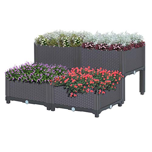 Outsunny 4-Piece Plastic Raised Garden Bed Planter Box with Self-Watering Design
