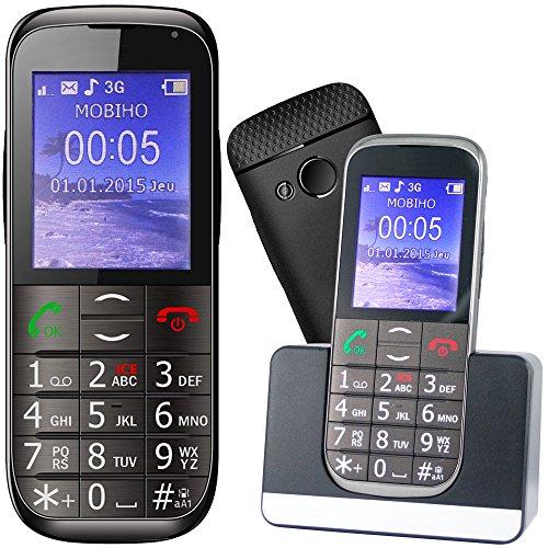 Mobiho Essentiel Le Classic Elegant 2-3G - téléphone Portable Senior, Compatible à Quelqu'un Qui Veut Un Appareil Complet à Grosse Touche - DEBLOQUE Tout OPERATEUR.