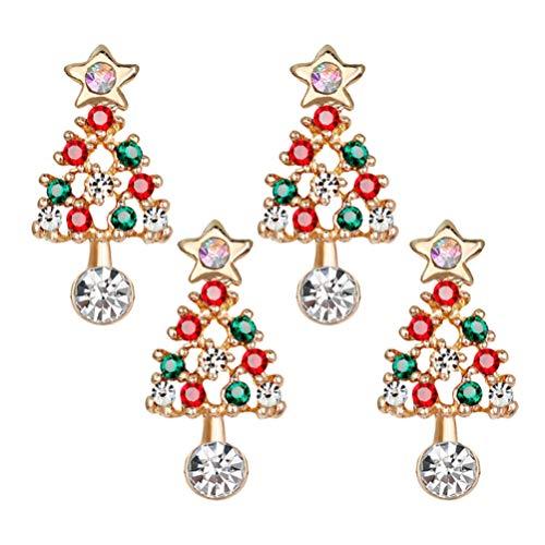 Amosfun 4 Piezas Adornos de árbol de Navidad Pendientes aro cuelgan Colgar Navidad