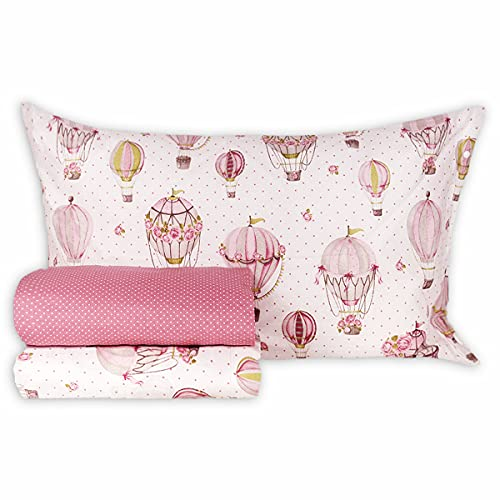 R.P. Completo Lenzuola in Cotone MONGOLFIERE Shabby Made in Italy 4 Misure Matrimoniale 2 Piazze Rosa