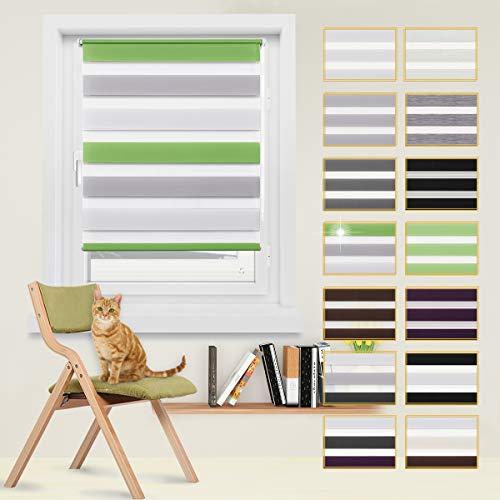 Doppelrollo, Duo-Rollo ohne Bohren, Doppelrollo Klemmfix, lichtdurchlässig und verdunkelnd Wandmontage Sichtschutz Rollo für Fenster und Tür Grün+Grau+Weiß, 60 x 150 cm
