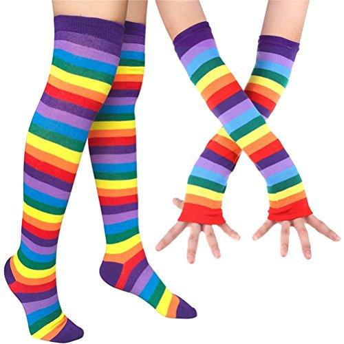 EDOTON Kniestrümpfe Regenbogen Streifen Arm Wärmer Bein Strumpf Bunte Oberschenkel Hohe Socken Fingerlose Handschuhe Hülsen-Set für Frauen Mädchen Party Stützen (Regenbogen)