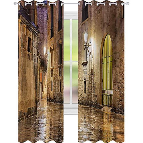 Cortinas para oscurecer la habitación, gótica piedra antigua barrio de Barcelona España renacentista Patrimonio Nocturno Foto, W52 x L63 cortinas de ventana para dormitorio, color crema