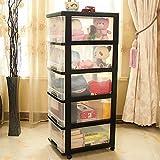 Shozafia 5-Drawer Rolling Storage Cart on Wheels, Craft Storage Containers Bins, Black Frame & Clear Storage Drawers