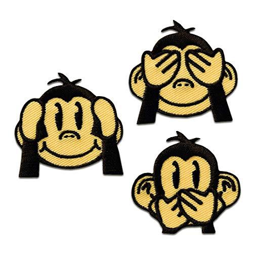 Aufnäher/Bügelbild - Set drei Affen - braun - ca. 3,5x3,5cm - Patch Aufbügler Applikationen zum aufbügeln Applikation Patches Flicken