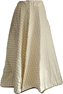SNEH Women's Silk Gold Print Checkered Skirt (Off White,Free Size)
