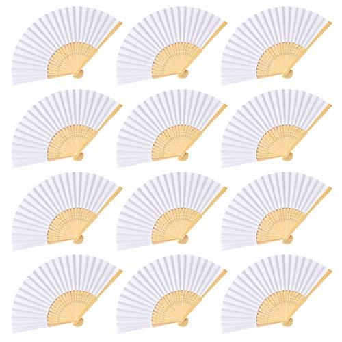Cozywind 12pcs Abanicos Blancos Plegables de Papel y Bambú, DIY Abanicos para Pintar, Invitados Boda Fiesta Decoración