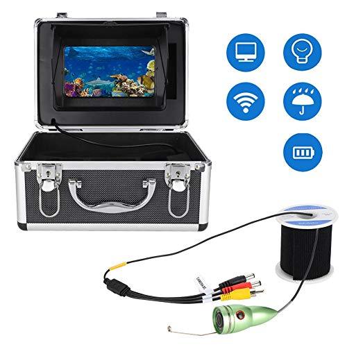 Onderwatercamera, 1000TVL Onderwatervideocamera 7 Inch HD-kleurenscherm Visserijcamera met 98,4 ft kabel, Waterdichte viscamera voor vissen in het meer, zwemmen, duiken(EU)