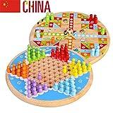 Luhua 2 en 1 Chinas Damas y Vuelo ajedrez de Madera Juego de Mesa, 9,45 Pulgadas, for la diversión Familiar Partes