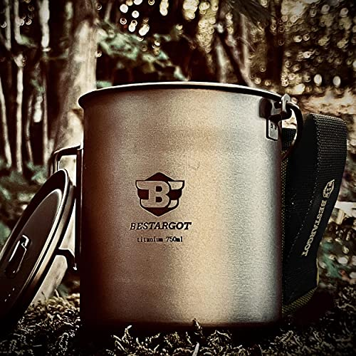Bestargot Camping Titanium Topf Becher Tasse 750ml Outdoor mit Isolierbeutel,Titan Campinggeschirr Kann, Outdoor-Tasse Geschirr, Große Kapazität