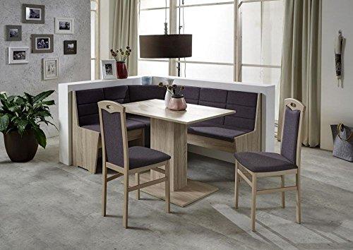 Beauty.Scouts Eckbankgruppe Classic Star Eiche Sonomoa Dekor Komplettset mokkabraun 4teilig Tisch Truheneckbank 2 Stühle Küche Esszimmer Landhaus