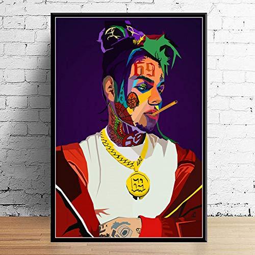 GaoDashan Art Decor Wrld J Cole Post Malone Mac Miller Travis Scoot Rapper Star Hip Hop Arte de la Pared Carteles para el hogar Pintura en Lienzo 50x70 cm (19,68x27,55 in) A-897
