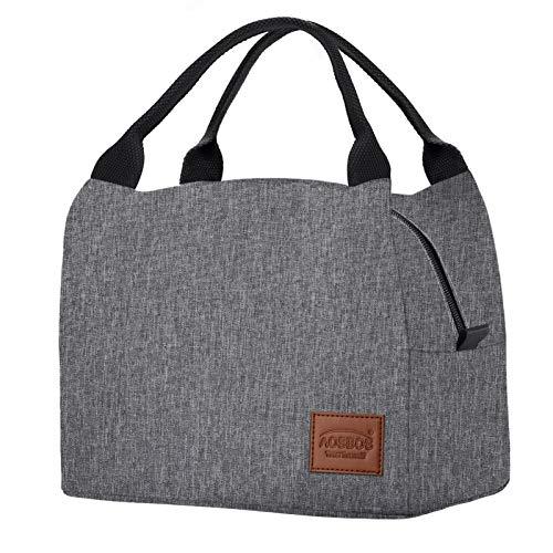 Kühltasche Klein Leicht Lunch Tasche Isoliertasche zur Arbeit Schule Faltbar Wasserdicht Reißverschluss 8,5L Grau