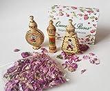 Bulgarian ROSE 3 frascos de madera + flores de rosa secas, regalo pequeño