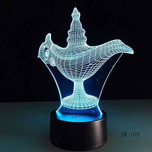 USB Neuheit Kinder Geschenk 7 Farben ändern LED Nachtlicht Aladdin magische Tischlampe 3D LED Schreibtisch Tischlampe Dekoration Home Office 109