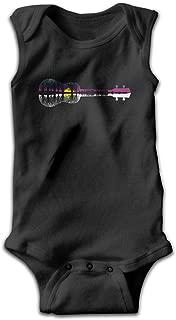 Sunset Moon Ukulele Guitar Unisex Particular Infant Baby Boy Bodysuit Black