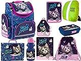 Katze Cat Rucksack Schulranzen, Federmappe, Schuhbeutel, Brotdose, Trinkflasche, Aktentasche, Gummizugmappe, Kinderschürze, Regenschutz 9-teilig XL Set