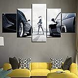 DGFHW Cuadro Moderno En Lienzo 5 Piezas - Racing Girl Car Poster Pintura Enmarcado Y Listo para Colgar Moderno Decoracion De Pared Abstractos Impresión Artística 150 * 80Cm