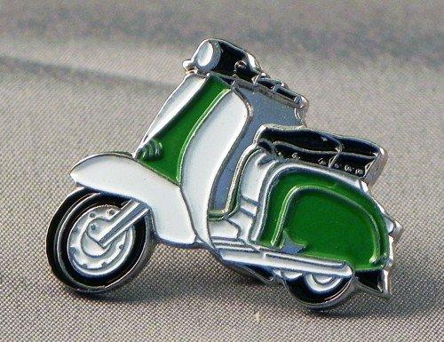 Broche en métal émaillé Motif Scooter Lambretta &blanc Vert