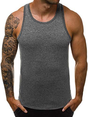 OZONEE Herren Tank Top Tanktop Tankshirt Ärmellos Bodybuilding Shirt Unterhemd T-Shirt Muskelshirt Achselshirt Ärmellose Training Gym Sport Fitness Freizeit Rundhals JS/99002 DUNKELGRAU S