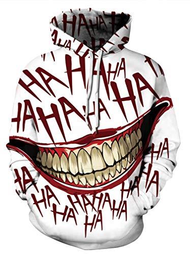 Achruor Hoodie Unisex Kapuzenpullover 3D Print Pullover Bunt Muster Tiere Anime Galaxy Winter Männer und Frauen Kapuzenpulli Kapuzenjacke Sweatshirts, Mund, L