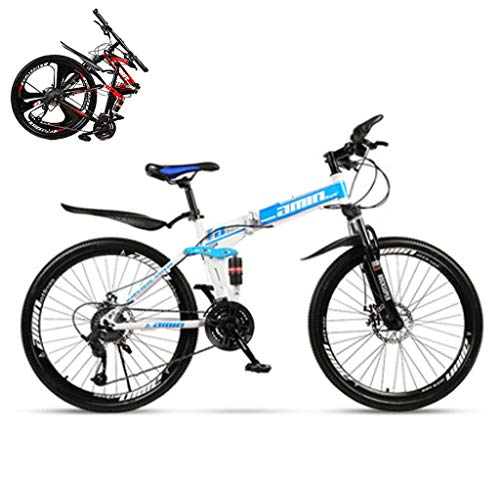SJWR Mountain Bike Pieghevoli 26 Pollici, Bicicletta MTB con Ruota A Raggi per Uomo Donna Adulto, Blu,21 Speed