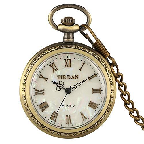 Moonlight Star Bronce Retro Romano visualización del Reloj Colgante de la Vendimia Cuarzo Reloj de Bolsillo de Cadena de los Hombres de Las Mujeres del suéter/Cadena Colgante