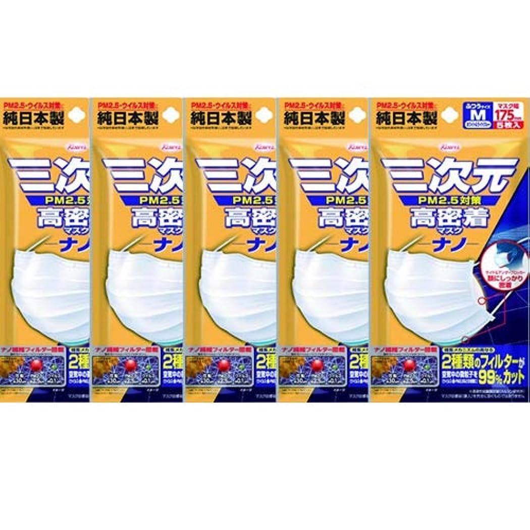 (興和新薬)三次元 高密着マスク ナノ ふつう Mサイズ 5枚入(お買い得5個セット)