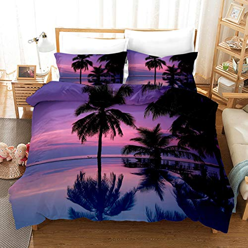 HDBUJ Purple Ocean Print Three-Piece Nordic Style Bedding, Two Pillowcases And One Duvet Cover, Soft Polyester Fabric 135X200Cm