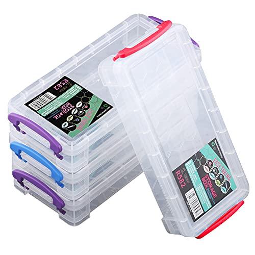 Kaimeilai 4 Stück Aufbewahrungsbox für Büromaterial, Stapelbare durchsichtige Stiftebox, Bleistift Aufbewahrungsbox mit Deckel, für Büromaterial, Bleistift, Pinsel, Aquarellstifte