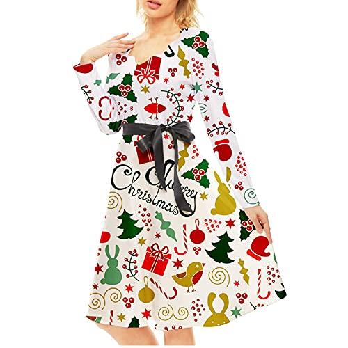 2021 vestidos de Navidad para mujeres tallas grandes, vestidos de fiesta de cóctel vintage de Papá Noel copo de nieve para mujer, blanco, M