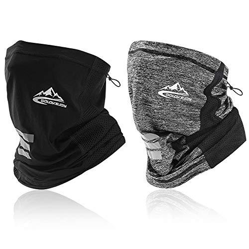 2 Pack Multifonctions Tour de Cou Elastique Tube Bandeaux Echarpe Gaiter Balaclava Masque UV Résidence pour à Pied Randonnée Cyclisme