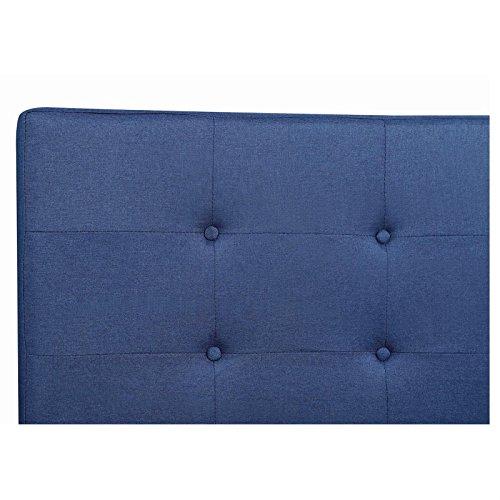 IDIMEX Lit Double pour Adulte Lille Couchage 140 x 190 cm 2 Places / 2 Personnes, avec sommier et Pieds Coniques en Bois, revêtement en Tissu capitonné Bleu
