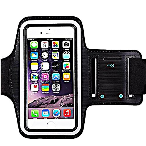 iBarbe Armband Water Resistant Sports Armband with Key Holder Night Reflective for iPhone X 8 Plus 7 Plus, 6 Plus, 6S Plus,Galaxy s8,s8+,S6/S5, Note 4 etc.Running Exercise (Black)