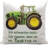 Kilala Traktor Kissen, bedrucktes Kissen mit Spruch 'Ich schnarche nicht…', Weiß in 40 x 40 cm