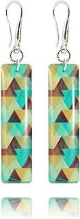 Pendientes Azul y Marrón Rectángulo 4cm para Esposa de Dragon Porter