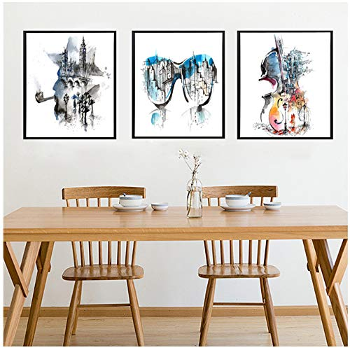 Jin Yi Global Canvas schilderij Samenvatting aquarel gitaar digitaal gedrukte posters woonkamer muziekkamer studie Home wanddecoratie 30x50cm(11.8