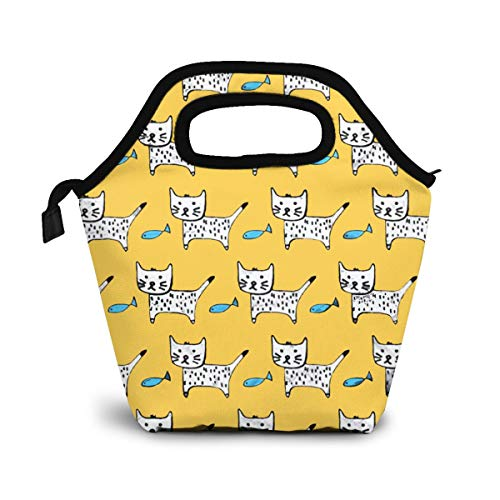 Funny Cats Lunch Bag Insulated Lunch Box Reusable Lunch Tote Cooler Organizer Bag Lunch Bags for Women,Men and Kids Adults