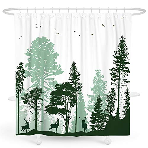 DESIHOM Green Forest Shower Curtain Tree Woodland Shower...
