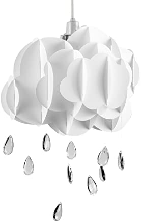 White Layered Rain Cloud Ceiling Pendant Light Shade with Acrylic Jewel Raindrop Water Droplets