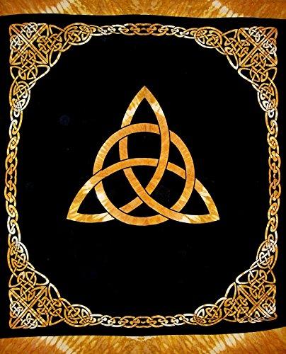 India Arts Celtic Trinity Knot Tapestry Heavy Cotton Spread 96' x 86' Tie Dye Amber