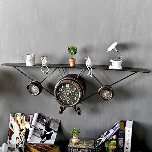 Vintage Metalen Vliegtuigen Wandplank Vliegtuigen Opslag Plank, Vliegtuigen Wandklok Home Slaapkamer Metalen Muur Opknoping,B,124x40cm