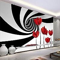 AMTTGOYY 壁画壁紙黒と白の縞模様の花モダンな3D抽象的な幾何学空間壁画リビングルームの壁紙-300x210cm