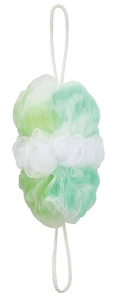 入力トレイ課すマーナ ボディースポンジ 「背中も洗えるシャボンボール オーロラ」 グリーン B587G