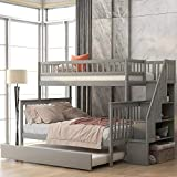 Baysitone Bunk Bed, Bunk Beds Twin Over Full Size, Bunk Bed with Trundle and Stairs, Solid Wood Bunk Bed Frame with 4 Storage for Kids, Girls, Boys, Toddler, No Box Spring Needed (Gray)