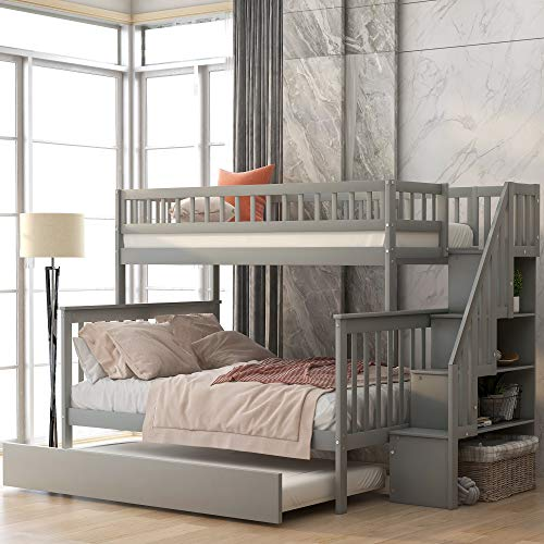 Bunk Bed for Kids, Twin Over Full Bunk Beds with Trundle and Storage Drawers, Solid Wood Trundle Bed Frame with Ladder and Guard Rail (Gray)